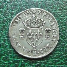 Henri II - Teston à la tête nue  1e type - 1555 L  Bayonne