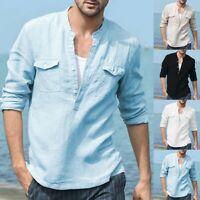 Mens Baggy Cotton Linen Pocket Solid Long Sleeve Retro T-Shirts Top Blouse S-2XL