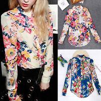Stylish Floral Print T Shirt Blouse Long Sleeve Women Casual Chiffon Shirt M53