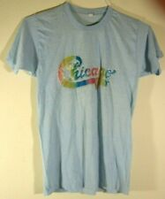 Rare Original Vintage 1980's Graphic Tee Chicago Gold Sparkle Rainbow Mens Sz M