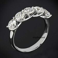 Moissanite Engagement Ring 925 Sterling Silver 2.50 Ct 5 Stone Off White