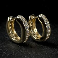 Small Men's 14k Gold 925 Sterling Silver One Row Iced CZ Huggie Hoop Earrings