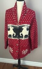Limited Women's Red Wool Long Sleeve Button Up Handknit Cardigan Size Large