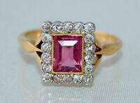 Exquisite Art Deco 18ct Gold Emerald Cut Pink Tourmaline & Diamond Ring  N 1/2