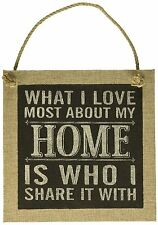 """WHAT I LOVE MOST ABOUT MY HOME... 10"""" x 10"""" Wood Hanging Plaque, by Carson"""