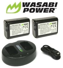 Wasabi NP-FW50 Battery x2 & Dual Charger for Sony Alpha a7,7II,7R,7S,a3000,a5100
