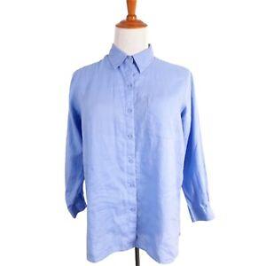 L.L. Bean Womens 1X Button Front Blouse Blue Long Sleeve Cotton Linen Shirt
