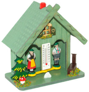 Weather House Green 894 Made in Germany by Trenkle Uhren Hygrometer