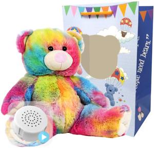 16 inch Rainbow - Pre-Stuffed Baby Heartbeat Teddy Bear & Voice Recorder
