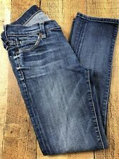 7 for all mankind Slim Straight Distressed Med Wash Jeans, Size 24x25