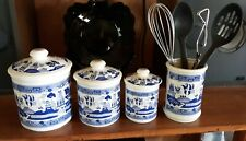 BLUE WILLOW CERAMIC KITCHEN CANISTER SET WITH UTENSIL HOLDER