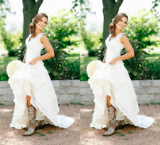 V Neck Western Country Vintage Lace Wedding Dress Bridal Gown with Flowers