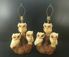 "1970s Vintage Ceramic Owl Table Lamps Light 23"" Tall to the Socket Matching Pair"