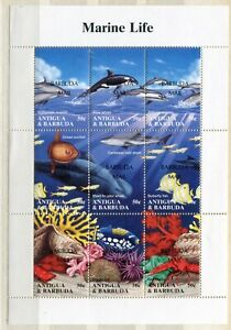 FAUNA_923 1994 Antigua BARBUDA MAIL OVERPRINT marine life fish SHEET MLH
