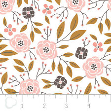 Magnolia Flowers in White Double Gauze Camelot 100% Cotton fabric by the yard