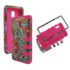 For LG Optimus F7 US780 Hybrid PinkStrip Teal Vintage Hard Soft Cover Case