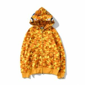 Long Sleeve Jacket Bape Bathing Ape Hoodie SHARK Head Camo Full Zip Coat us