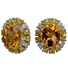 Citrine Earrings In 14k White Gold Surrounded By Diamonds & Yellow Sapphires