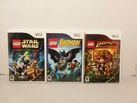 Wii LEGO Games lot. STAR WARS, BATMAN,INDIANA JONES 3 LEGO game lot tested LOOK