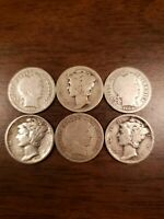Lot Of 6 Silver Dimes 3 Barber 3 Mercury Dates 1892-1945