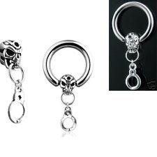"Pair 14g 1/2"" Skull & Cuff Dangle Captive Rings, Nipple Rings, Belly Rings"