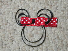 """NEW """"MINNIE MOUSE - RED"""" Girls Ribbon Hairbow Clip Bow Boutique Sculpture Disney"""