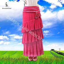 SHARON TANG Modest Apparel Stretch Velvet Layers Flowers Skirt M ST132080007-7