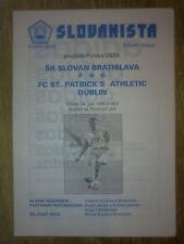 Programme Slovan Bratislava Slovakia - St.Patrick`s Athletic Ireland 1996 UEFA