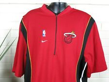 Nike NBA Jersey Miami Heat Mens Warmup Shirt 1/4 Zip Sz 2XL Red Used Wade James