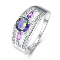 Wedding Blue Sapphire & Rainbow & White Topaz & Amethyst Gemstone SIlver Ring