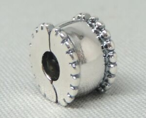 Authentic Pandora Moments Beveled Clip/Charm/Bead Silver 925 ALE 790267