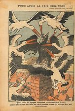 Caricature Politique Anti-Boches Nid Cigognes Française Alsace 1919 ILLUSTRATION
