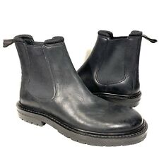 BURBERRY London Womens Leather Chelsea Lug Ankle Boots Black 39 (MSRP $680)