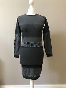 H&M X Alexander Wang Bodycon Dress Size Medium 10 12 Jacquard Longsleeve