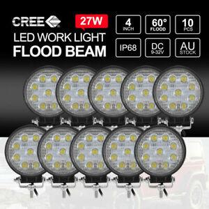 MOBI 10x 27W FLOOD LED Work Lights CREE Round Off Road 4x4 Truck Boat 12V