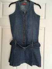 WOMENS, ESPRIT, DENIM DRESS, SIZE XS, ZIPPED FRONT, BELT, SEQUIN E ON BACK, #805