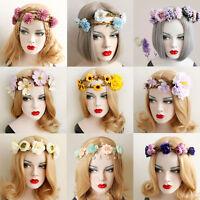 Girl Boho Wedding Flower Crown Hair Garland Lace Bridal Headband Hairband