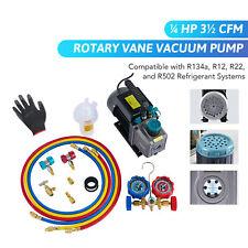 Omt Hvac Vacuum Pump Amp Ac Manifold Gauge Set For R502 R12 R134a Amp R22 Ac Units