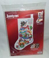 Janlynn Counted Cross Stitch Snow Folks Christmas Stocking  Kit NIP Sealed