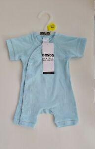 BNWT BONDS Bodysuit BABY 00000 Premature Baby, Infant Cozysuit Baby Blue Romper