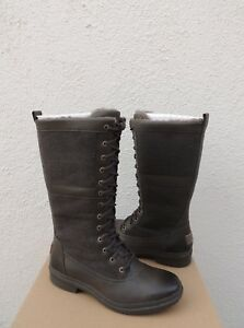 UGG ELVIA SLATE WATERPROOF LEATHER/ WOOL SNOW BOOTS, WOMEN US 9.5/ EUR 40.5 ~NIB