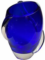 "Krosno Cobalt Blue 9"" Vase Hand Blown Glass Large Cyclone Tendril Swirl Poland"