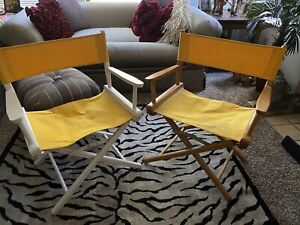 Pair 1960s Gold Metal Folding Furniture Racine WI Yellow Wooden Director Chairs