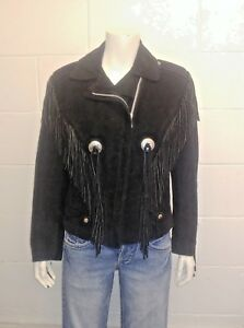 Exelled Biker tasselled 100% Leather Suede jacket. Made in USA. Ladies size 12