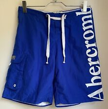 BLUE SWIM SHORTS ABERCROMBIE & FITCH M SUMMER TOWIE GOLF SPORT BEACH POOL BOHO