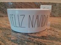 "RAE DUNN Magenta ""FELIZ NAVIDAD"" CHRISTMAS XL Dog Bowl New Free Shipping!"