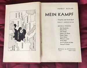 Mein Kampf - Adolf Hitler -1940 - Reynal & Hitchcock New York, très rare Édition