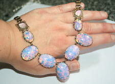 Artisan vintage Victorian bookchain pink foil opal glass filigree leaf necklace