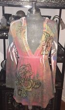 SPY Zone Exchange Womens Super Soft Hooded Top w Floral Bling Details Size Small