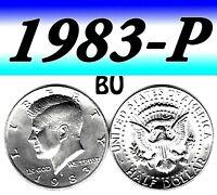 1983-P KENNEDY  UN-CIRCULATED CLEAR BRIGHT HALF DOLLAR.===BU===C/N===